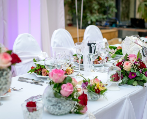 A table is prepared for Wedding